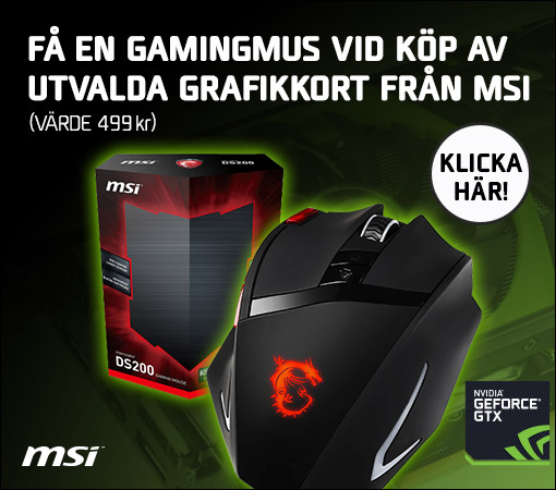 MSI GeForce GTX DS200 gaming mouse på köpet